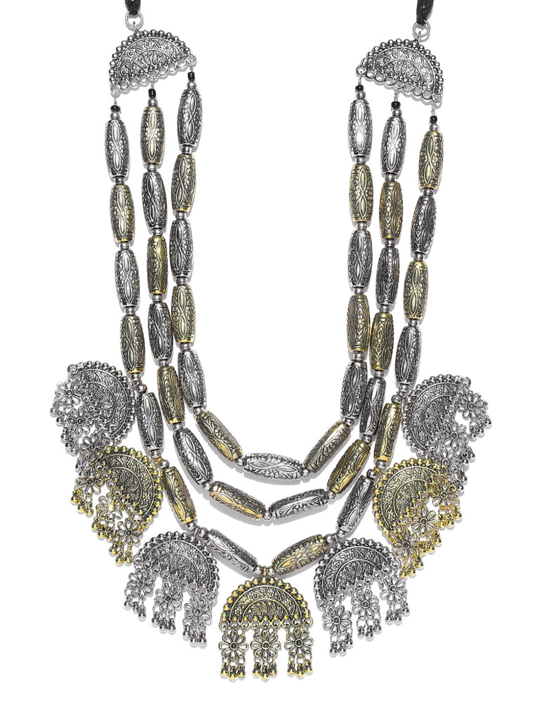 Infuzze Antique Gold-Toned & Oxidised Silver-Toned Textured Layered Afghan Necklace