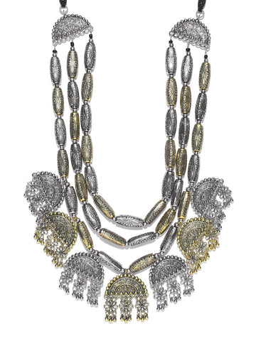 Infuzze Antique Gold-Toned & Oxidised Silver-Toned Textured Layered Afghan Necklace - S067