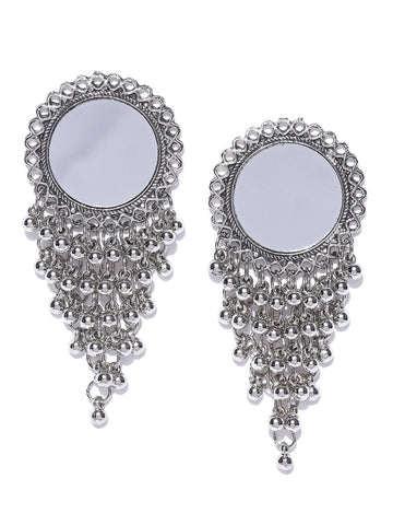 Infuzze Oxidised Silver-Toned Mirror-Work Circular Drop Earrings - S073