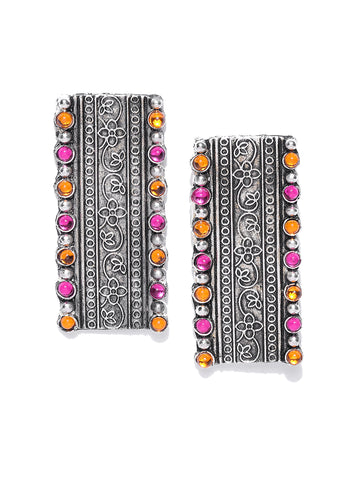 Infuzze Oxidised Silver-Toned & Pink Stone-Studded Rectangular Drop Earrings - T023