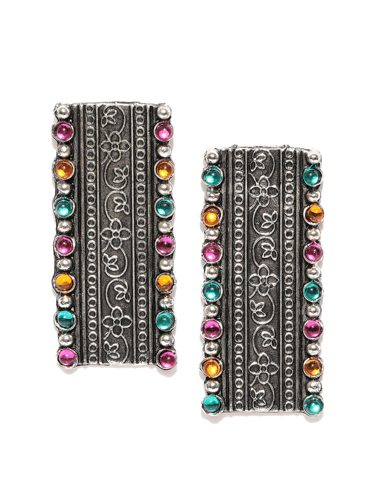 Infuzze Oxidised Silver-Toned & Pink Beaded & Textured Rectangular Drop Earrings