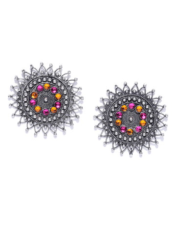 Infuzze Oxidised Silver-Toned & Pink Beaded Circular Drop Earrings - T032