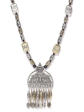 Infuzze Antique Gold-Toned & Oxidised Silver-Toned Textured Tribal Necklace - T108