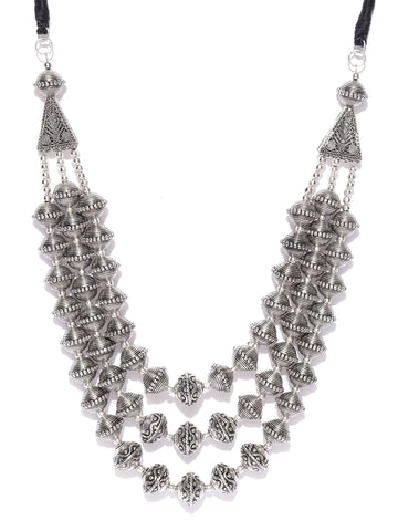 Infuzze Oxidised Silver-Toned Layered Tribal Necklace - T120