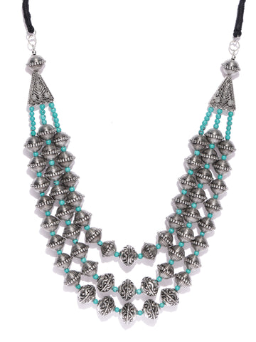 Infuzze Oxidised Silver-Toned & Turquoise Blue Tribal Necklace