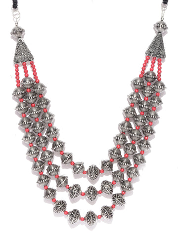 Infuzze Oxidised Silver-Toned & Red Layered Tribal Necklace