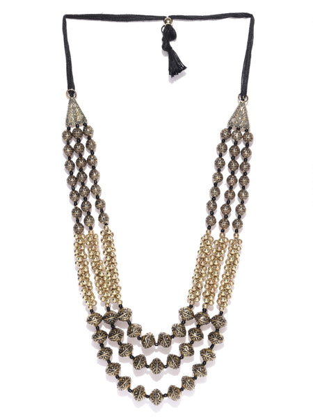 Infuzze Antique Gold-Toned Layered Tribal Necklace - T128