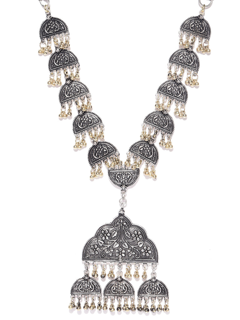 Infuzze Oxidised Silver-Toned & Antique Gold-Toned Textured Tribal Necklace