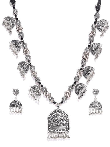 Infuzze Oxidised Silver-Toned Textured Tribal Jewellery Set