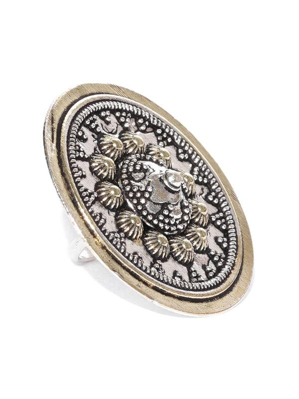 Infuzze Women Oxidised Silver & Antique Gold-Toned Tribal Textured Adjustable Ring