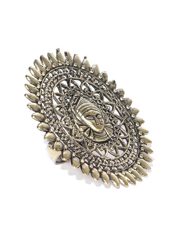 Infuzze Women Antique Gold-Toned Goddess Textured Adjustable Ring