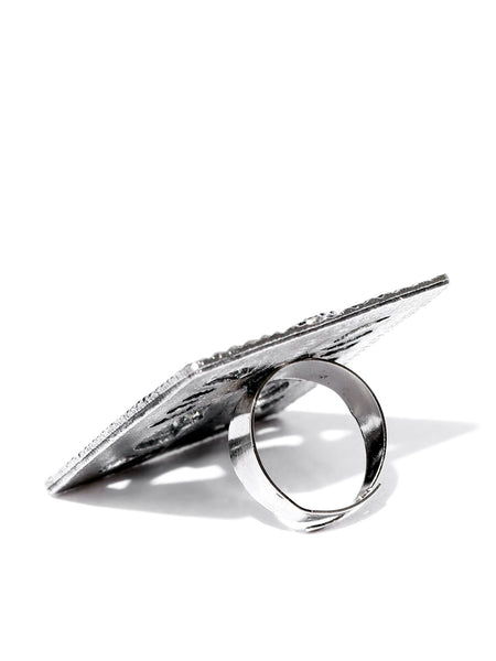 Infuzze Women Oxidised Silver-Toned Goddess-Shaped Adjustable Oversized Ring - U005
