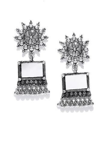 Infuzze Oxidised Silver-Toned Geometric Mirror Drop Earrings - U043