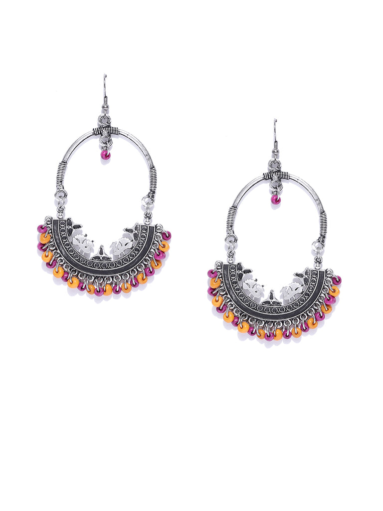 Infuzze Oxidised Silver-Toned & Pink Crescent Shaped Chandbalis - U049