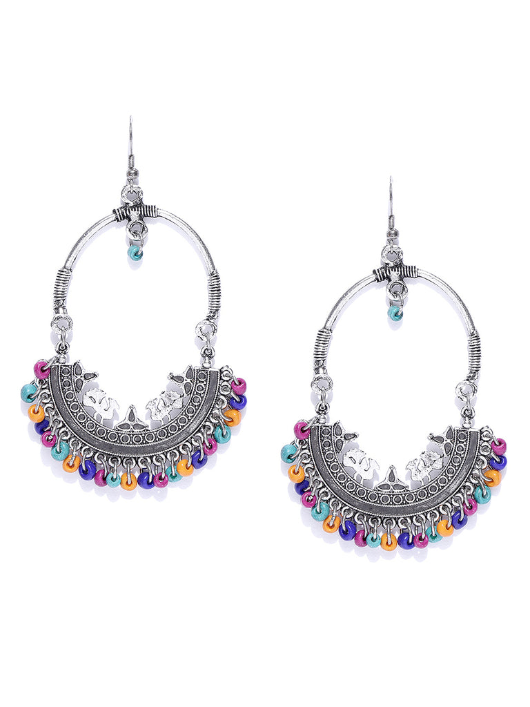Infuzze Oxidised Silver-Toned & Blue Crescent Shaped Chandbalis - U051