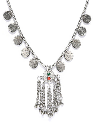 Infuzze Silver-Toned Textured Afghan Necklace - U063