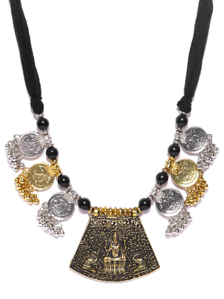 Infuzze Oxidised Silver-Toned & Antique Gold-Toned Brass-Plated Temple Necklace - V010
