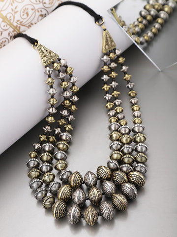 Infuzze Silver & Gold Toned Necklace - V012