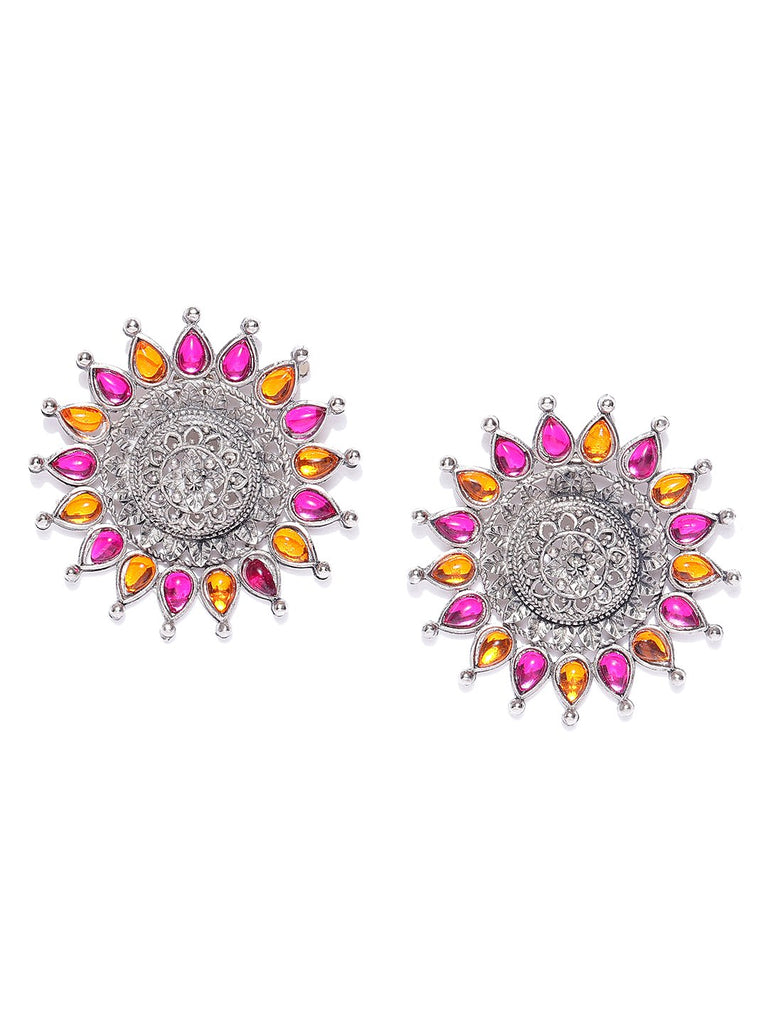 Infuzze Oxidised Silver-Toned & Pink Floral Oversized Studs