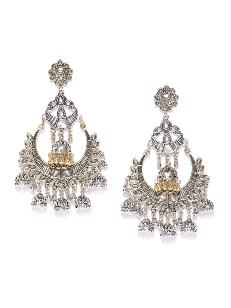 Infuzze Oxidised Silver-Toned & Antique Gold-Toned Crescent Shaped Chandbalis