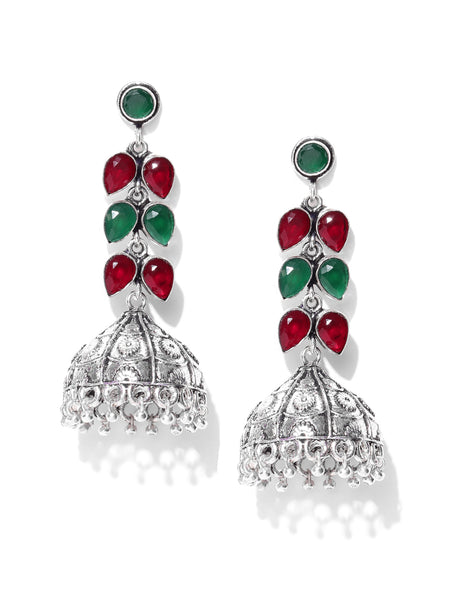 Infuzze Oxidised Silver-Toned Brass-Plated Stone-Studded Handcrafted Dome Shaped Jhumkas - V074