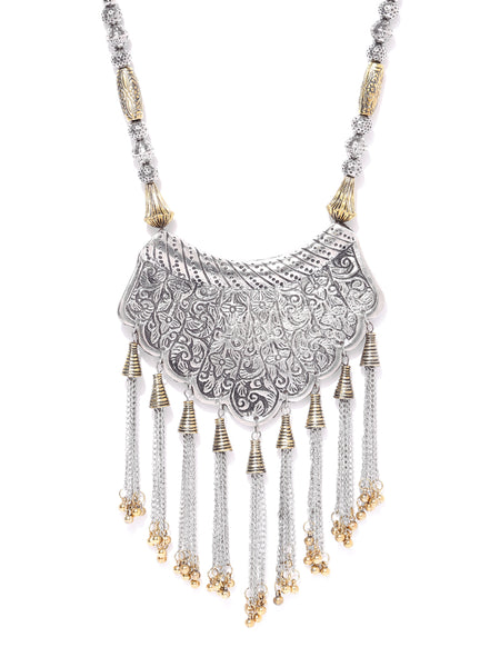 Infuzze Oxidised Silver-Toned & Antique Gold-Toned Brass-Plated Afghan Necklace - V075