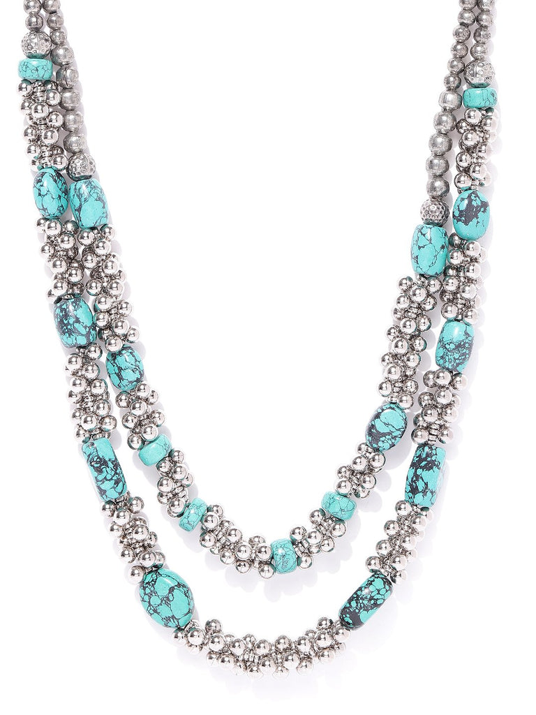 Infuzze Oxidised Silver-Toned & Turquoise Blue Brass-Plated Layered Necklace
