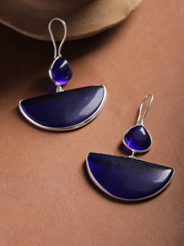 Infuzze Navy Silver-Plated Stone-Studded Geometric Drop Earrings