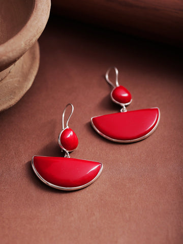 Infuzze Red Silver-Plated Stone-Studded Geometric Drop Earrings