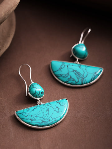 Infuzze Turquoise Blue Silver-Plated Stone-Studded Printed Geometric Drop Earrings - V090