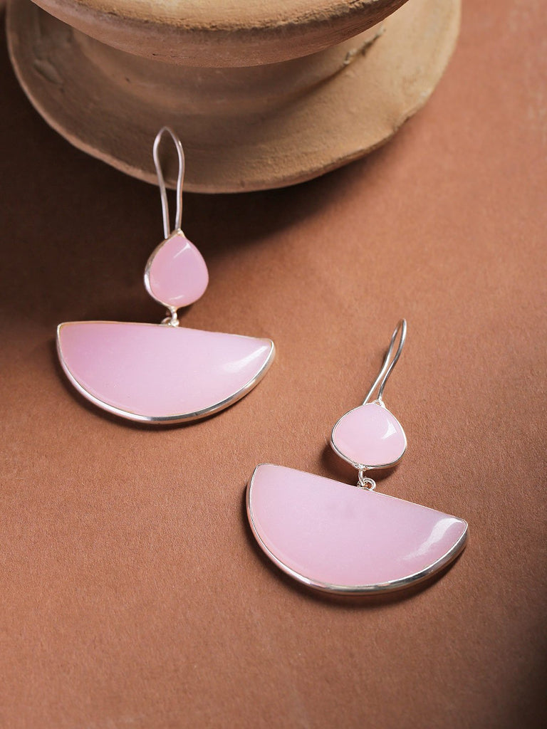 Infuzze Pink Silver-Plated Stone-Studded Geometric Drop Earrings