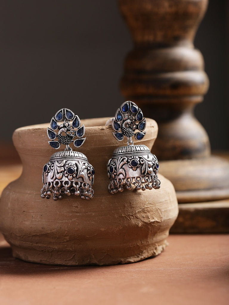 Infuzze Navy Oxidised Silver-Plated Stone-Studded Handcrafted Dome Shaped Jhumkas