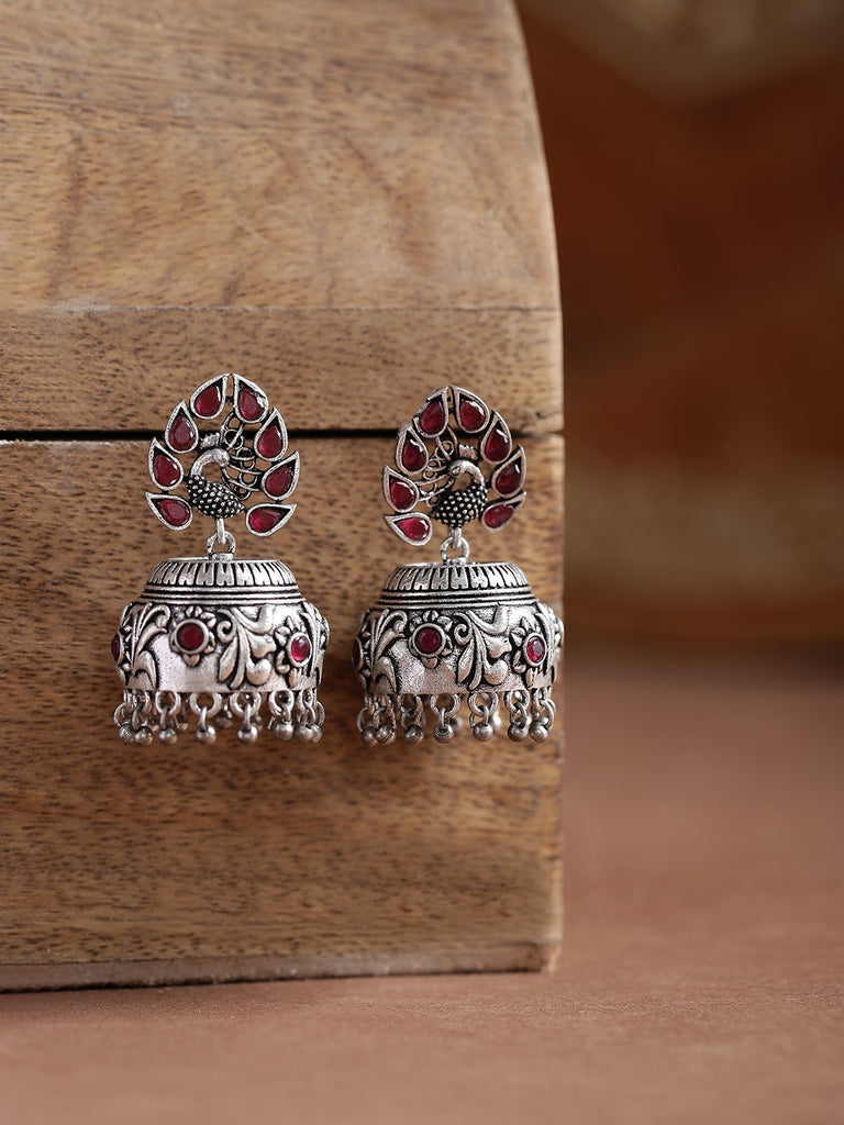 Infuzze Pink Oxidised Silver-Plated Stone-Studded Handcrafted Dome Shaped Jhumkas