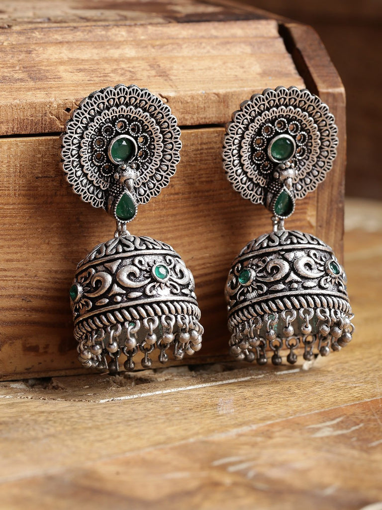 Infuzze Green Oxidised Silver-Plated Stone-Studded Handcrafted Dome Shaped Jhumkas