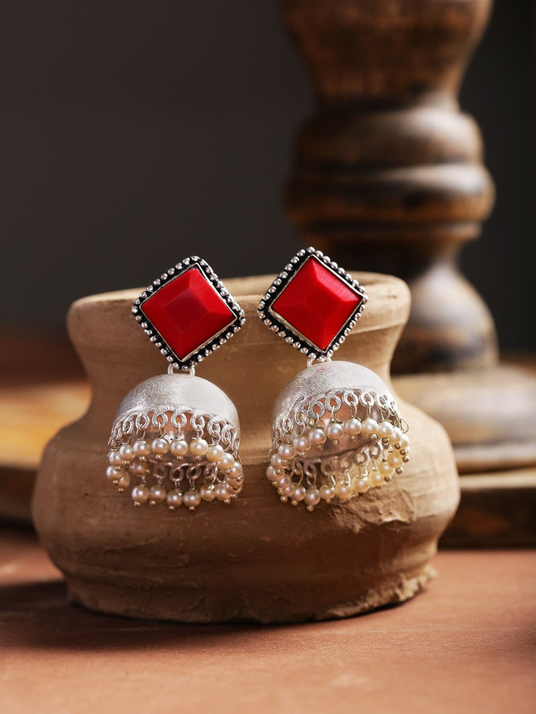 Infuzze Red Oxidised Silver-Plated Stone-Studded Handcrafted Dome Shaped Jhumkas