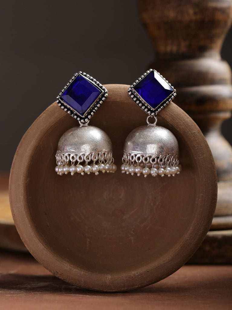 Infuzze Blue Oxidised Silver-Plated Stone-Studded Handcrafted Dome Shaped Jhumkas