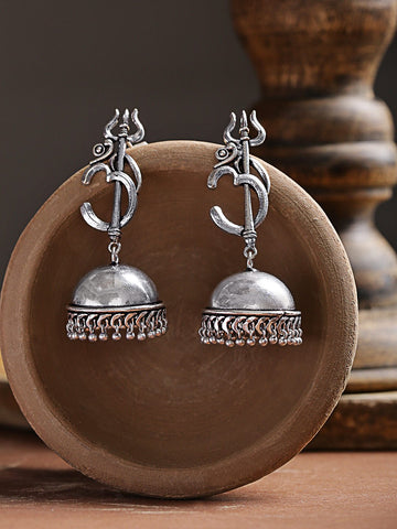 Infuzze Oxidised Silver-Plated Handcrafted Dome Shaped Jhumkas