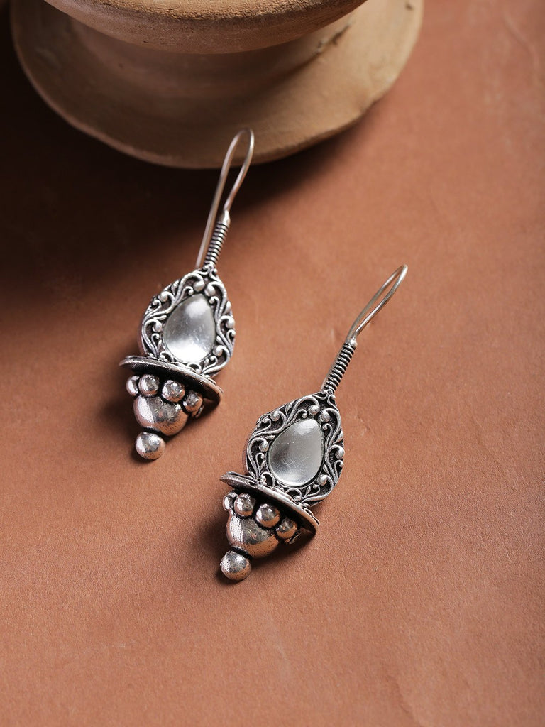 Infuzze Oxidised Silver-Plated Stone-Studded Teardrop Shaped Drop Earrings