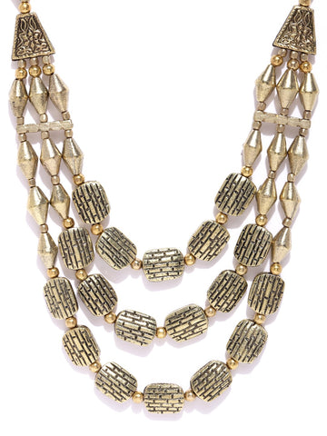 Infuzze Antique Gold Toned Brass Plated Layered Necklace