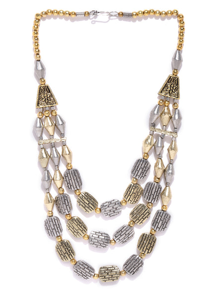 Infuzze Antique Gold Toned & Oxidised Silver Toned Brass Plated Layered Necklace - W003