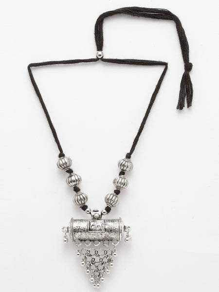 Infuzze Silver-Toned Brass-Plated Oxidised Necklace - W004