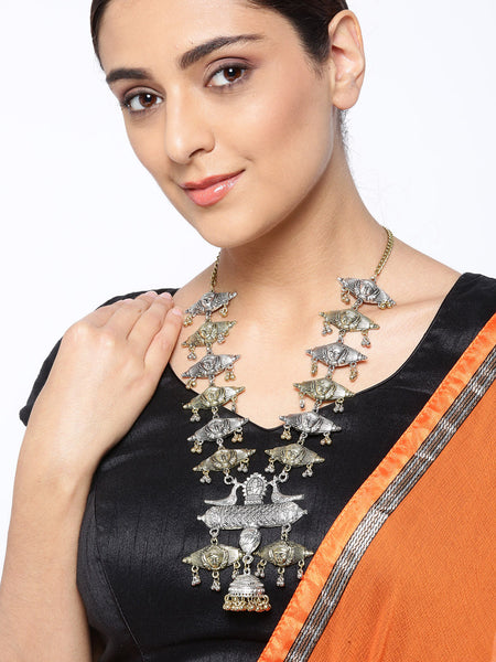 Infuzze Antique Gold Toned & Oxidised Silver Toned Brass Plated Tribal Necklace - W008