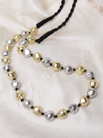 Infuzze Silver-Toned & Gold-Toned Brass-Plated Oxidised Necklace - W012
