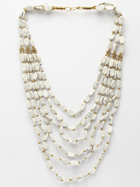 Infuzze Off-White Brass-Plated Handcrafted Necklace - W013