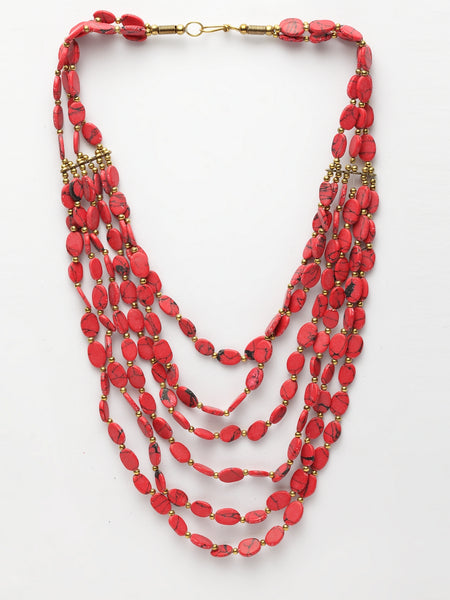 Infuzze Red Brass-Plated Handcrafted Necklace - W014