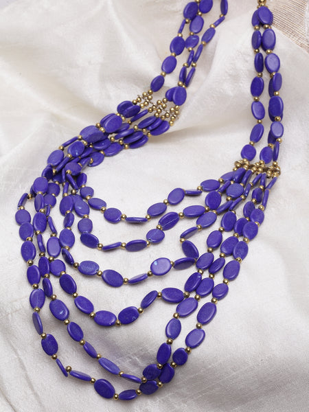 Infuzze Blue Brass-Plated Handcrafted Necklace - W015