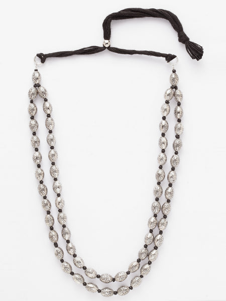 Infuzze Silver-Toned Brass-Plated Oxidised Necklace - W016