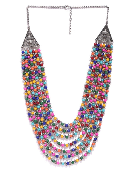 Infuzze Multicoloured Brass Plated Beaded Layered Necklace   - W021