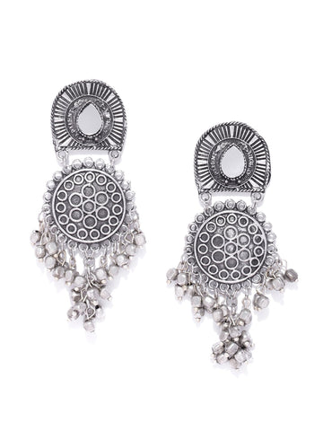 Infuzze Oxidised Silver Toned Beaded Mirror Geometric Drop Earrings