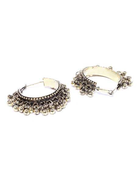 Infuzze Antique Gold Toned Beaded Circular Hoop Earrings   - W032
